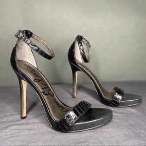 Sam Edelman Eleanor Black Faux Snakskin 6.5 Heels